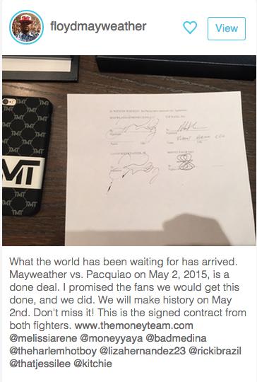最初の公式アナウンスはメイウェザー自らによるこの投稿